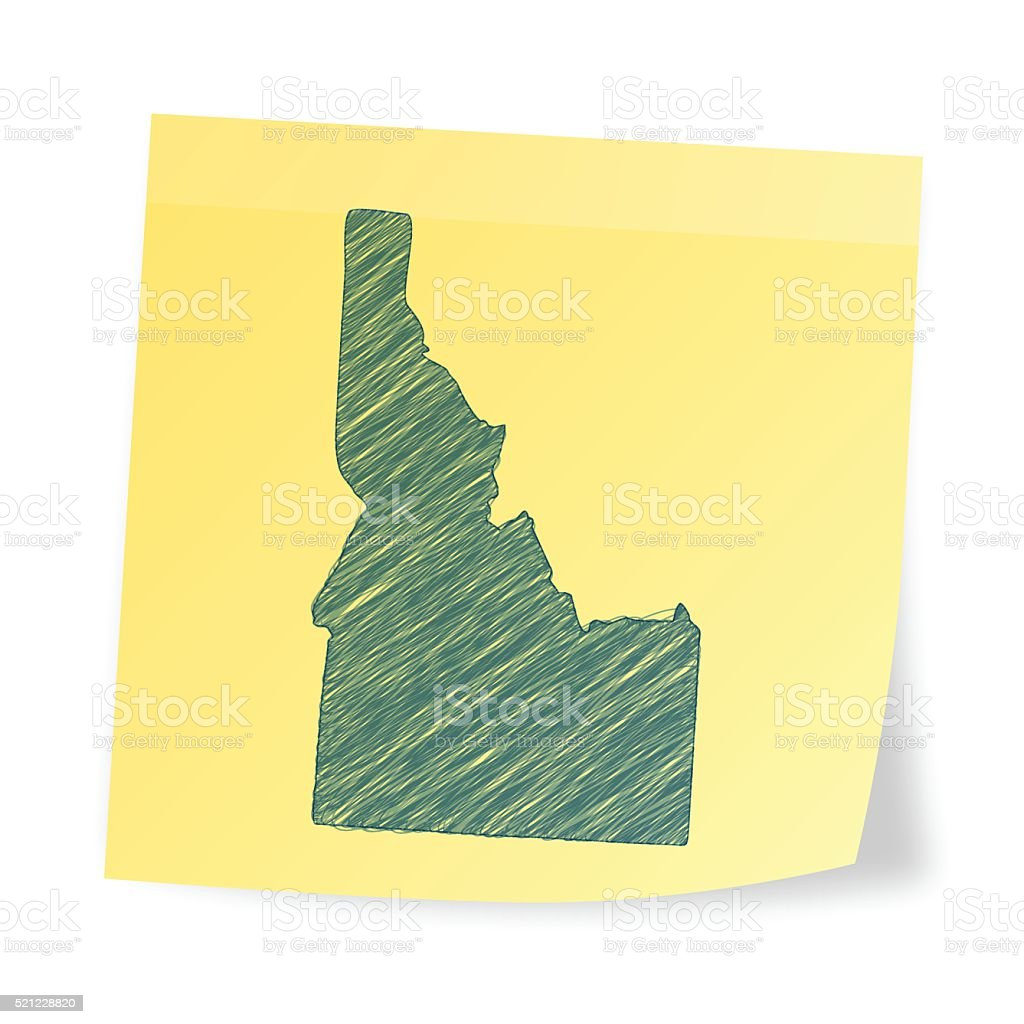 Idaho map on sticky note with scribble effect vector art illustration