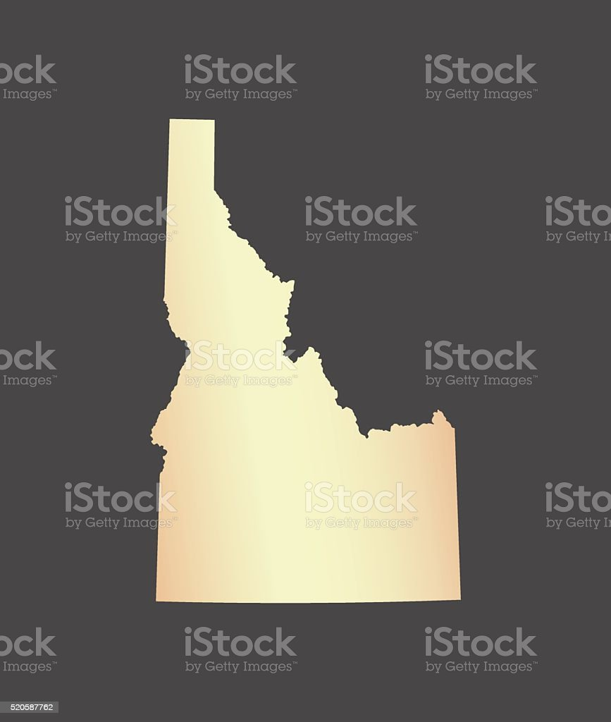 Idaho map vector outline in USA with gray background vector art illustration