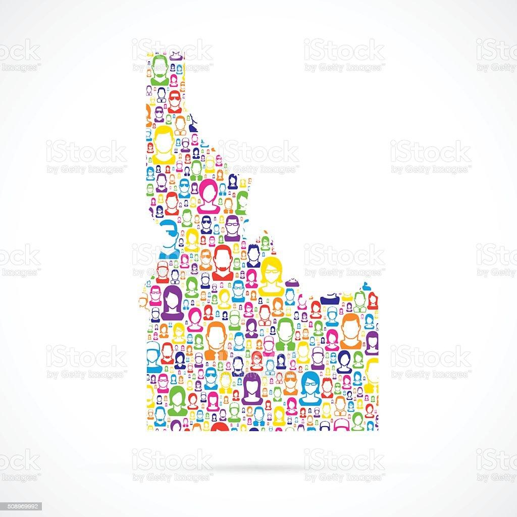 Idaho Map with People vector art illustration