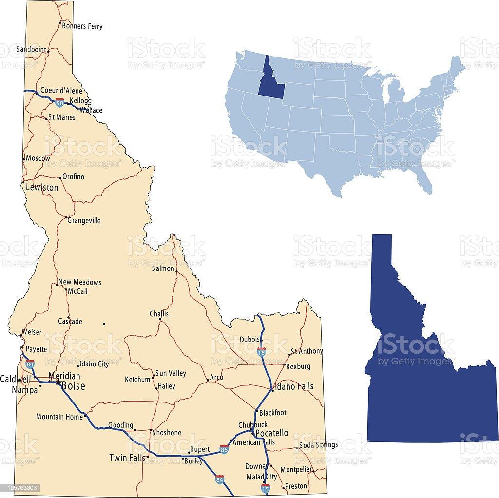Idaho road map vector art illustration