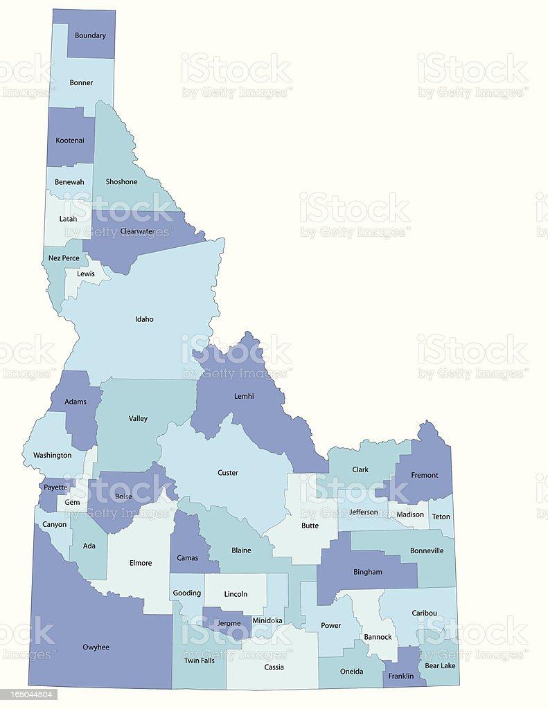 Idaho state - county map vector art illustration