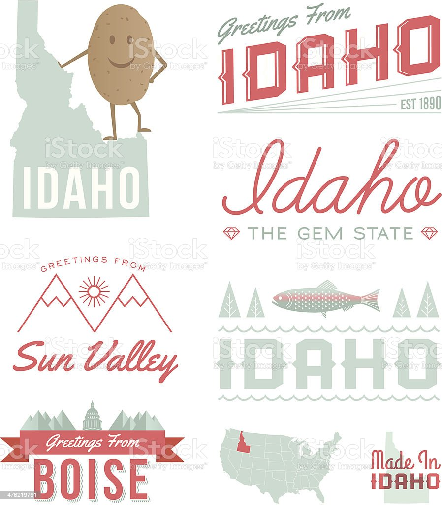 Idaho Typography vector art illustration