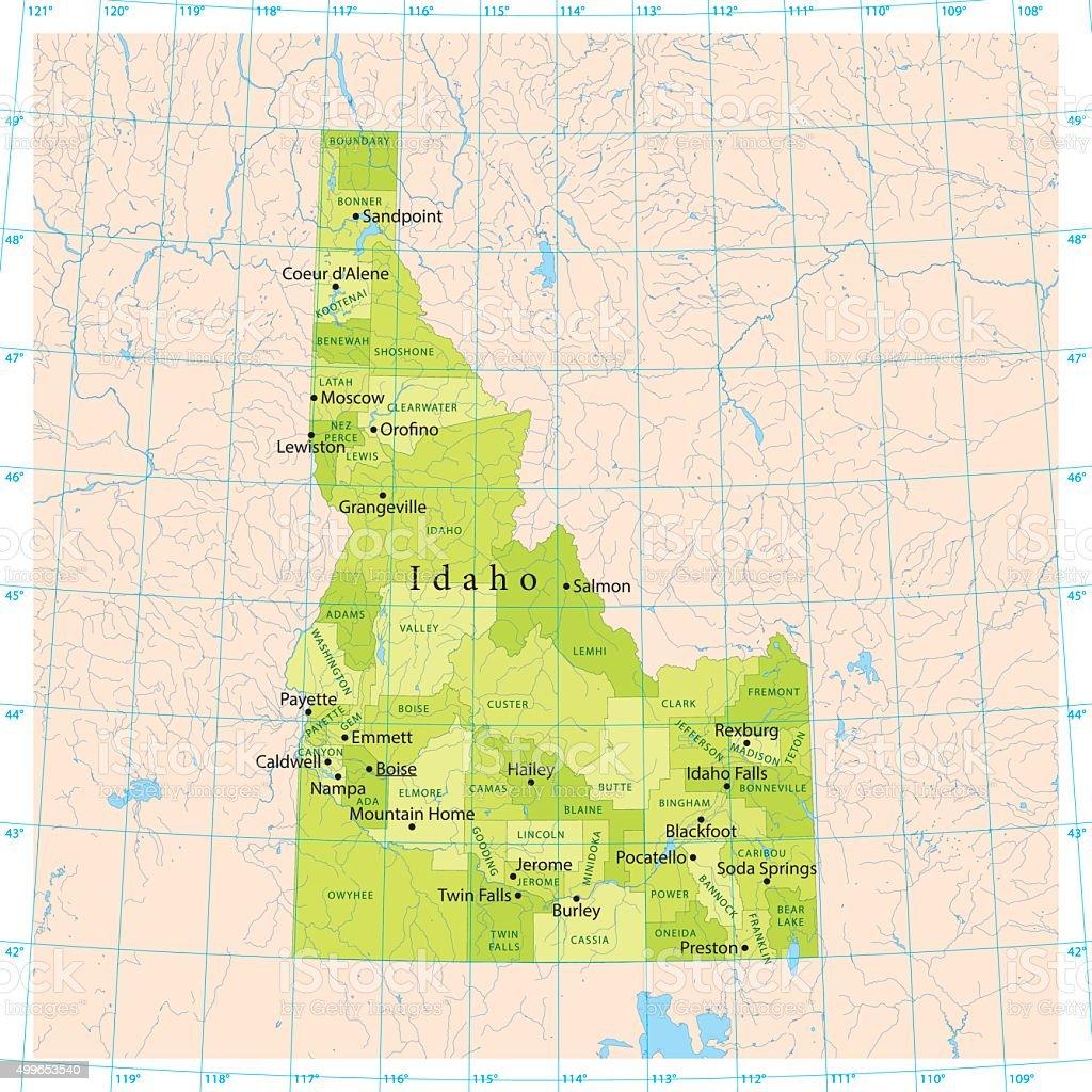 Idaho Vector Map vector art illustration