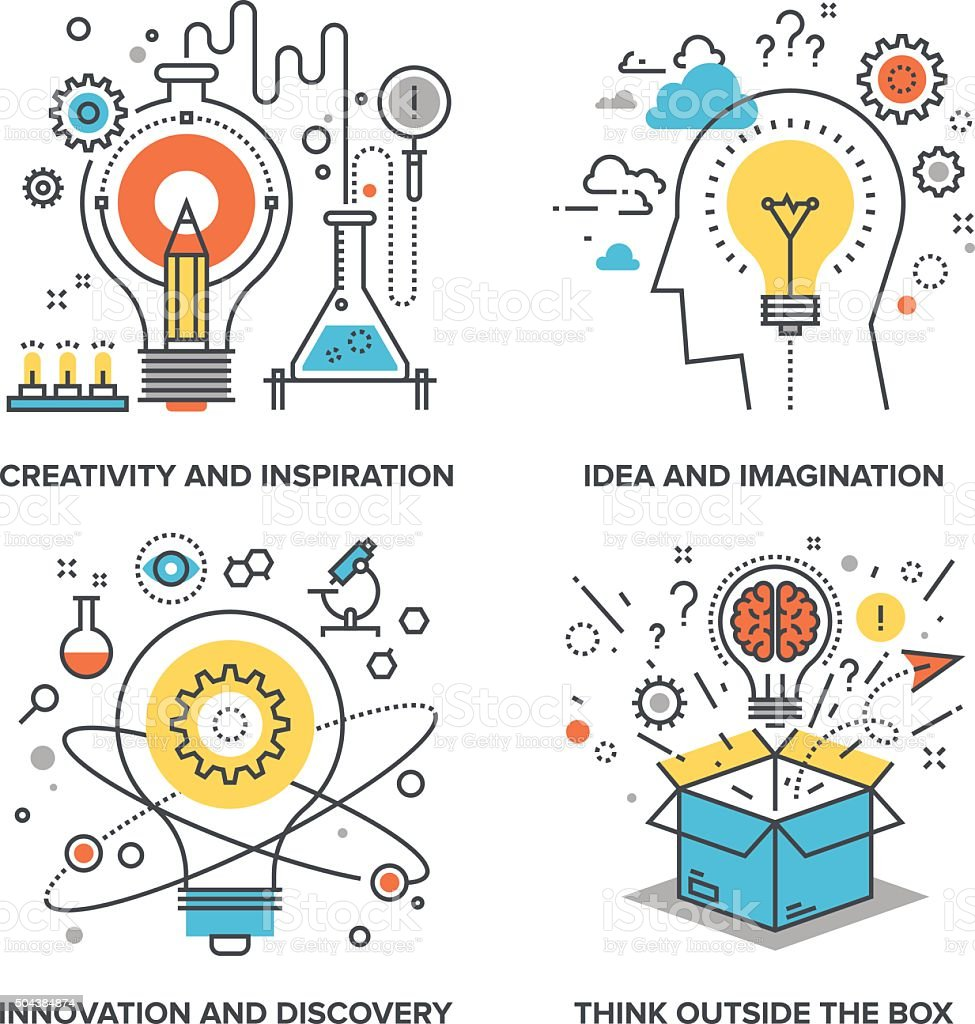 Idea and Imagination vector art illustration
