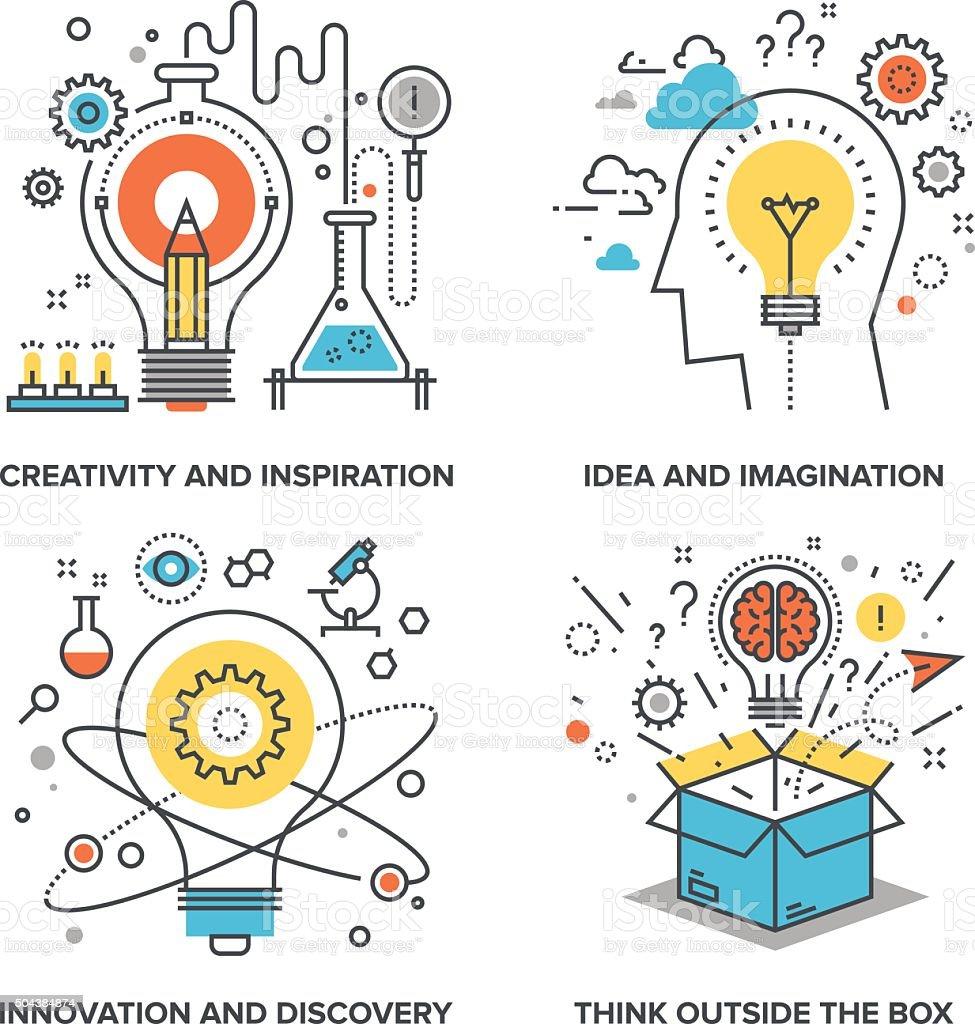 Idea and Imagination vector art illustration