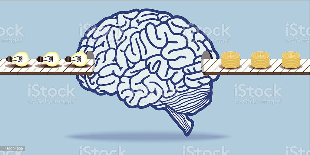 Idea becomes to money with brain royalty-free stock vector art