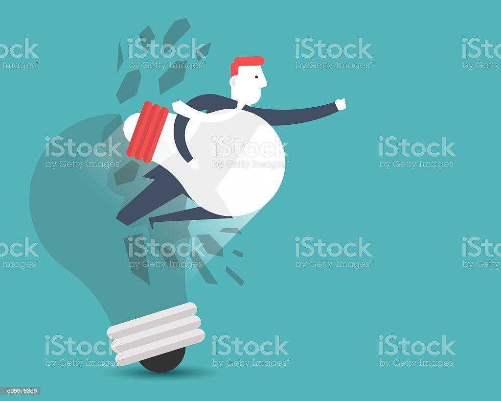 Idea Breakthrough vector art illustration