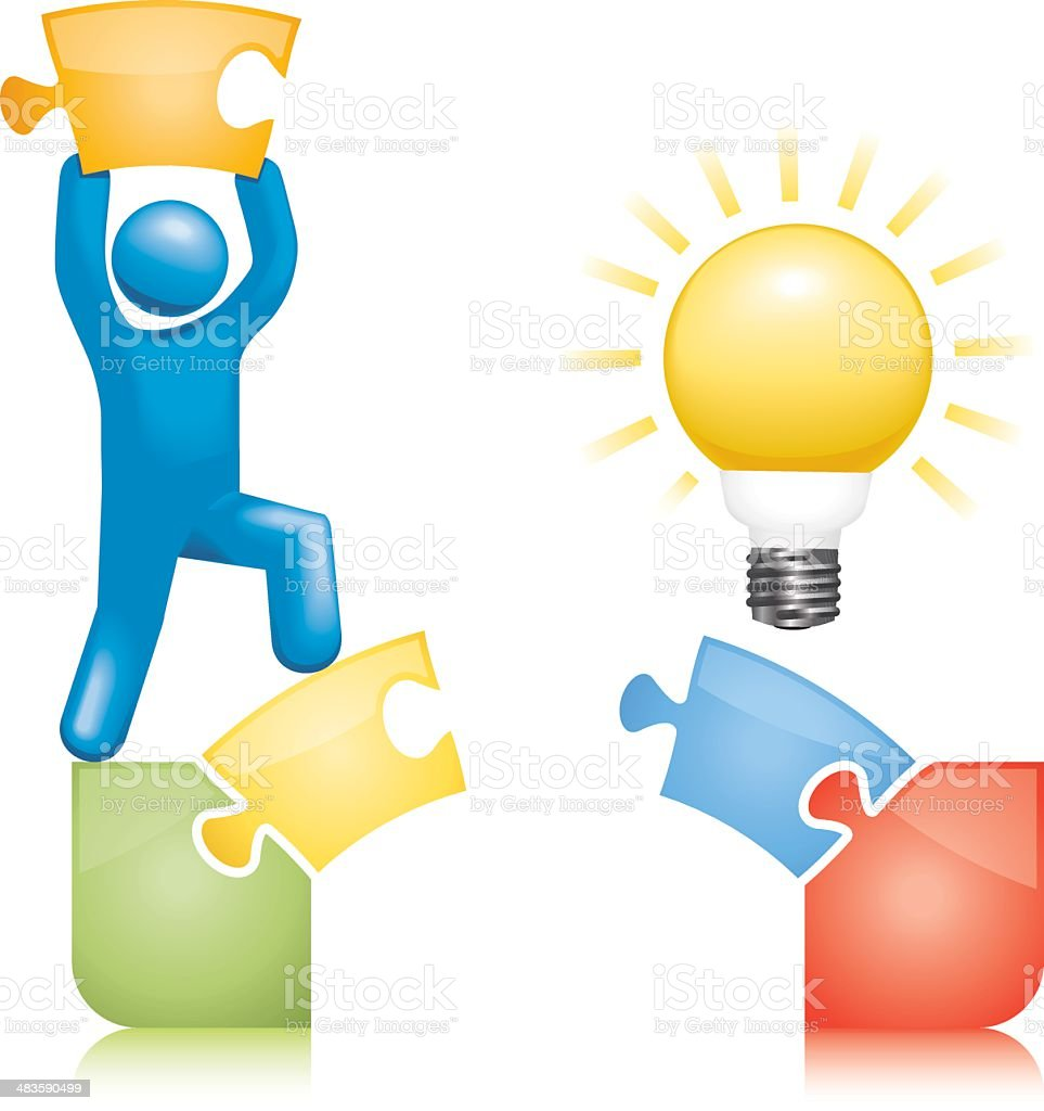 Idea Bridge Jigsaw Solution royalty-free stock vector art