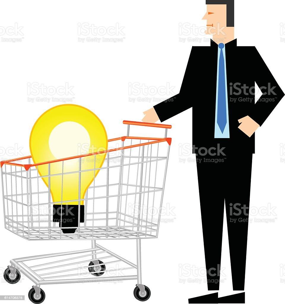 Idea Bulb In Shopping Trolley With Businessman vector art illustration