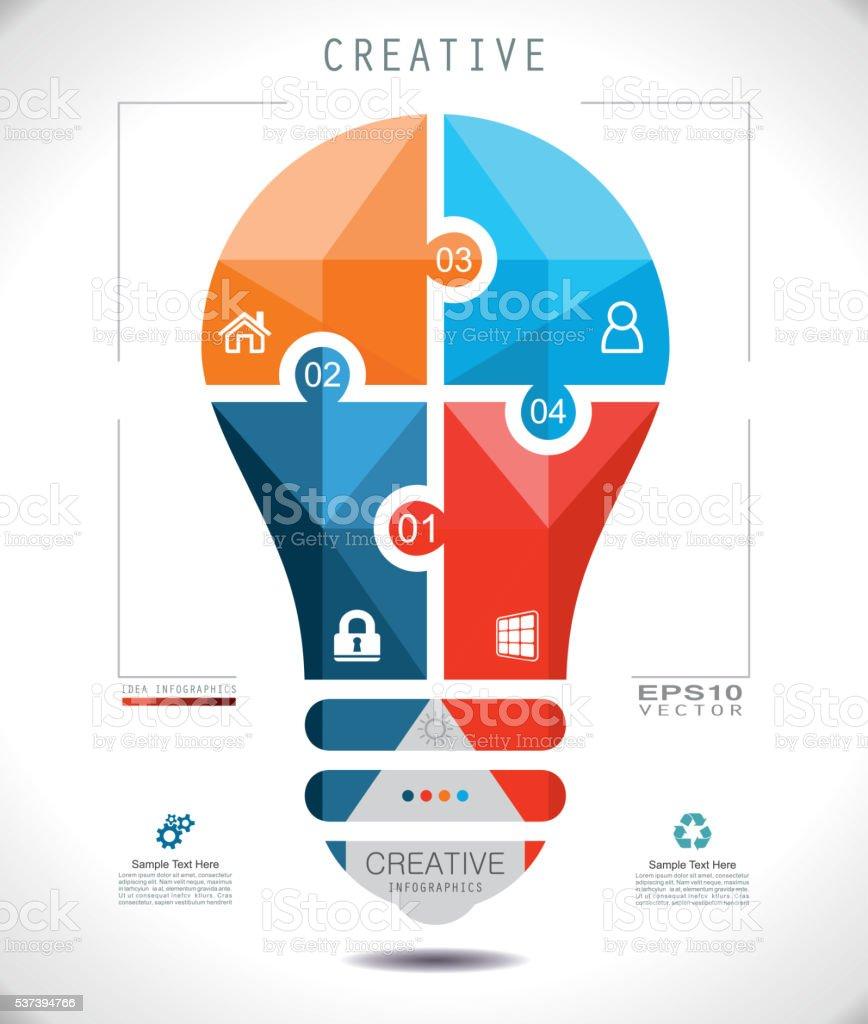 Idea Bulb Mosaic Puzzle Style vector art illustration