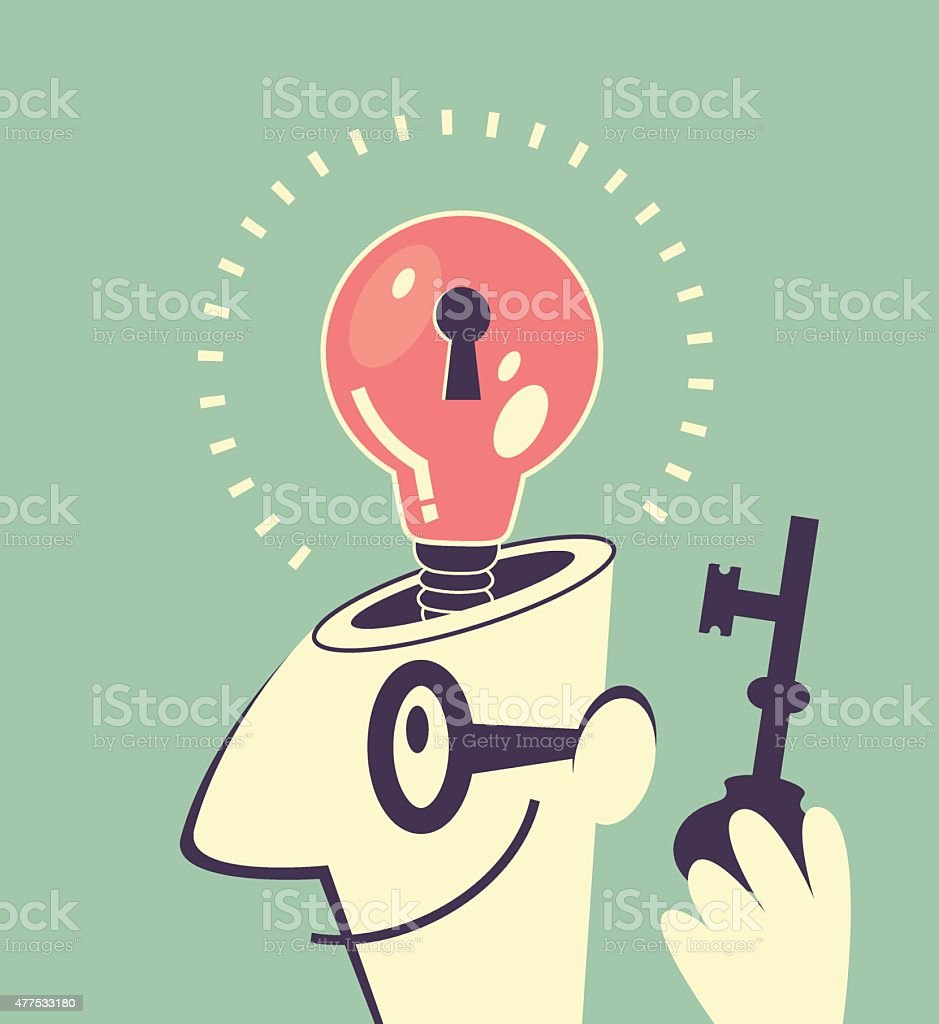 Idea bulb with keyhole inside businessman head, man holding key vector art illustration