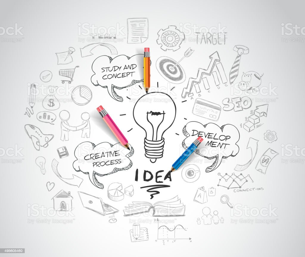 idea concept with light bulb and doodle sketches vector art illustration