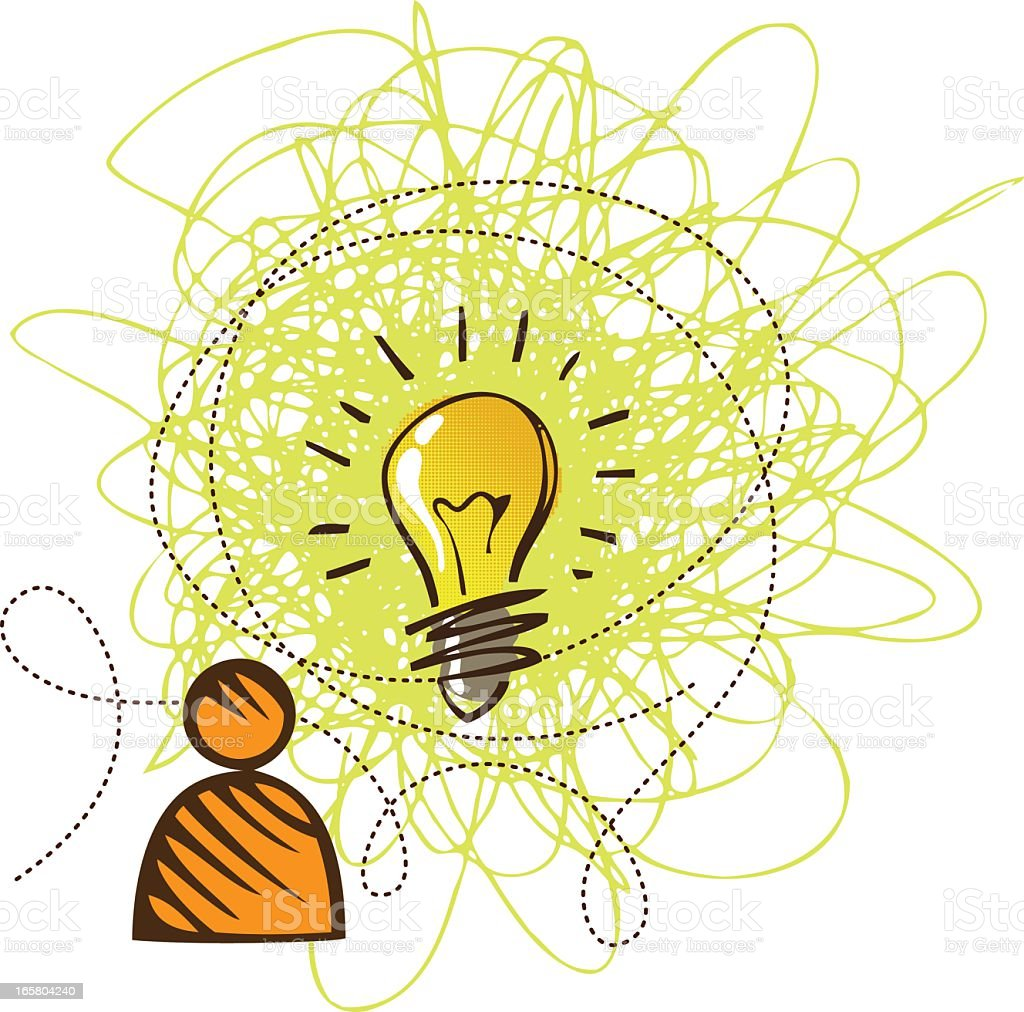 Idea concept with lightbulb and hat royalty-free stock vector art