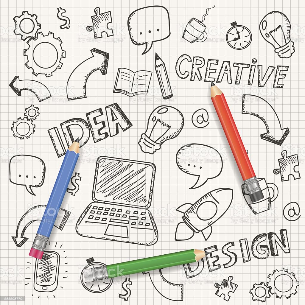 Idea concept with pencil and doodle sketches. Business doodles set. royalty-free stock vector art