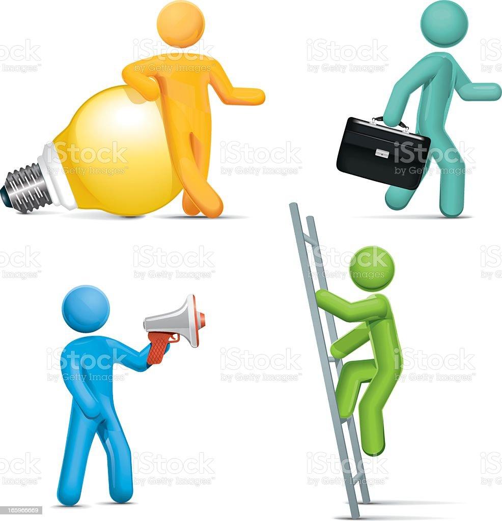 Idea, direction, management, achievement vector art illustration