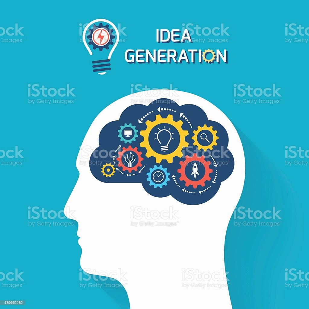 Idea generation and startup business concept vector art illustration