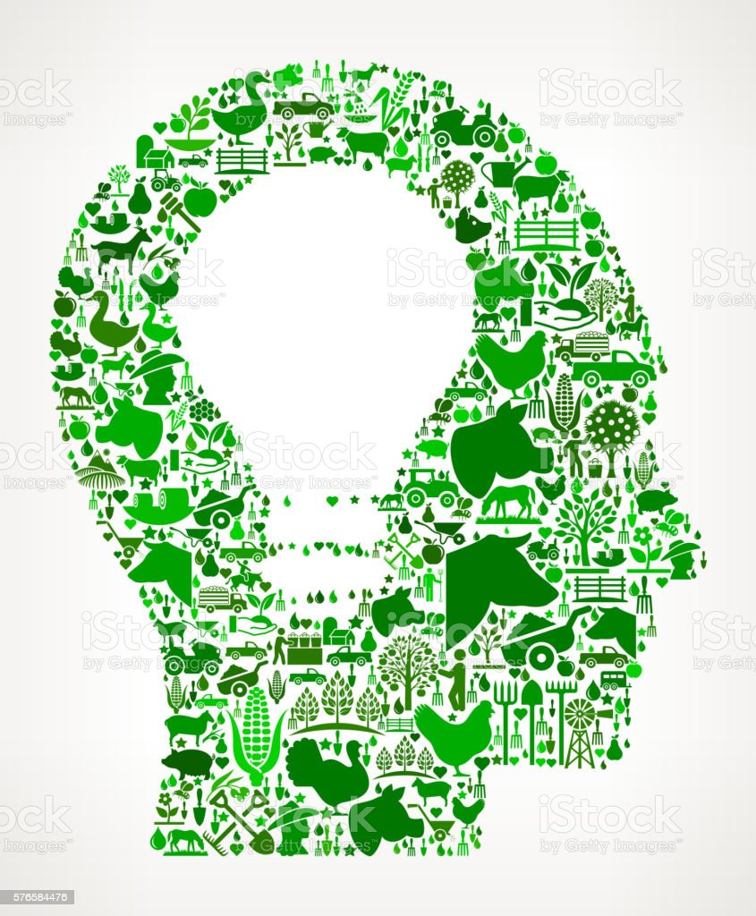 Idea Head Farming and Agriculture Green Icon Pattern vector art illustration
