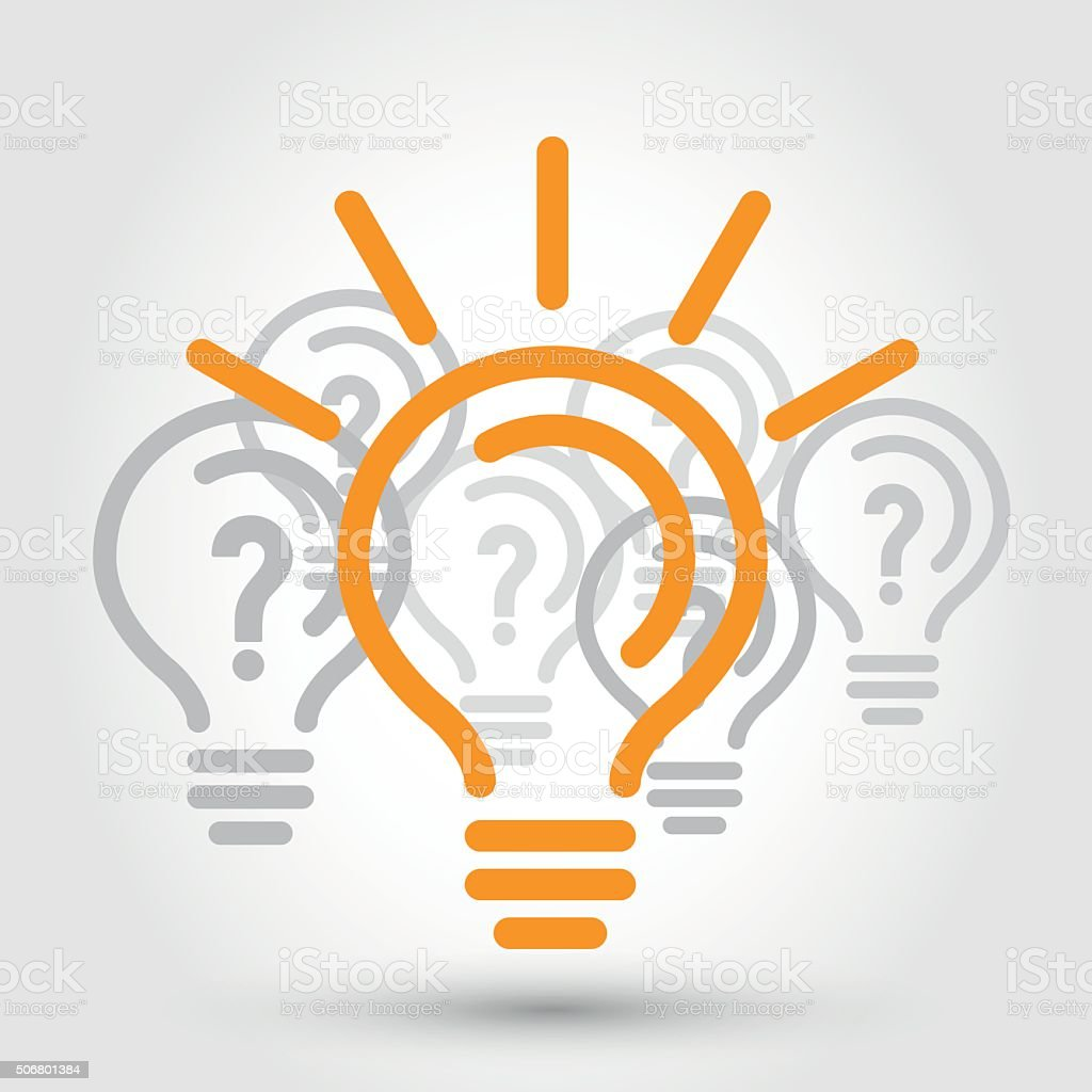 idea illustration with bulbs vector art illustration