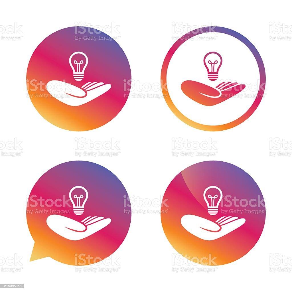 Idea insurance sign. Hand holds lamp bulb symbol. vector art illustration