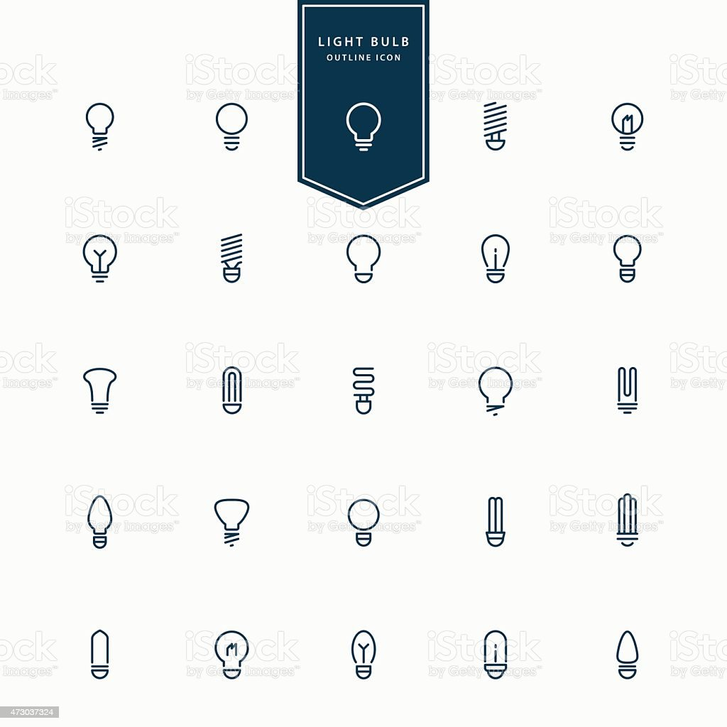 25 idea light bulb minimal line icons vector art illustration