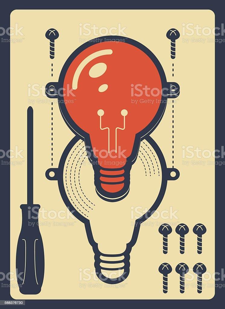 Idea light bulb model with screw and screwdriver vector art illustration