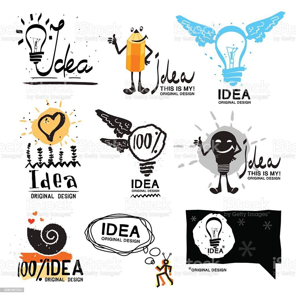 Idea logo. Glow crazy logo symbol. Light bulb with wings logo. vector art illustration