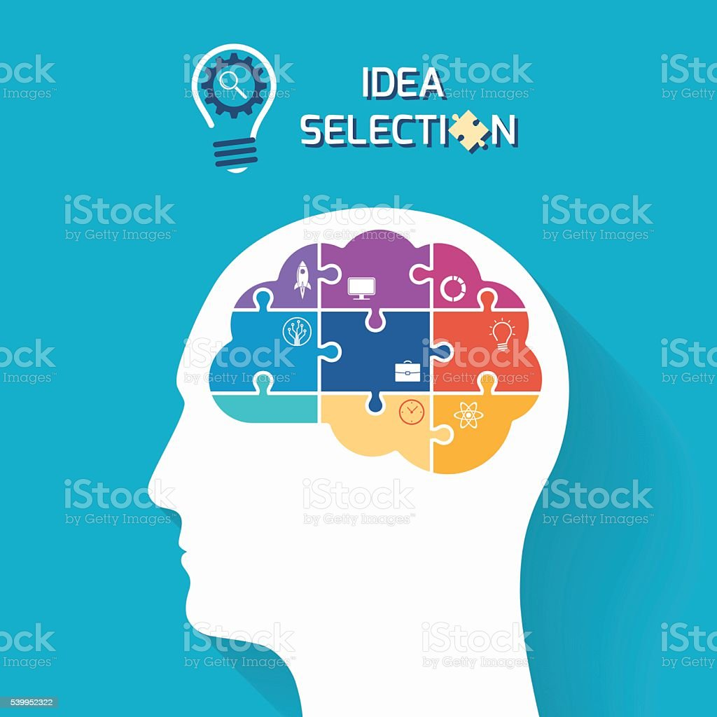 Idea selection and startup business concept vector art illustration