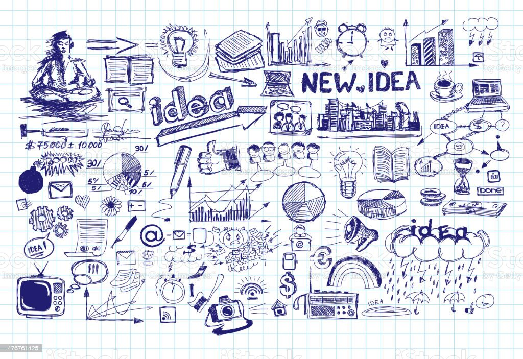 Idea Sketch Background With Pen Drawn Elements vector art illustration