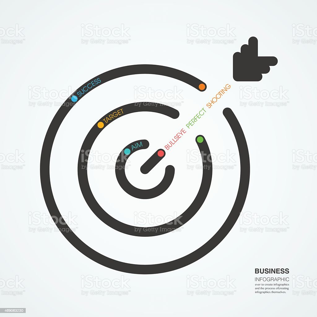 idea target  concept diagram line style infographic template vector art illustration