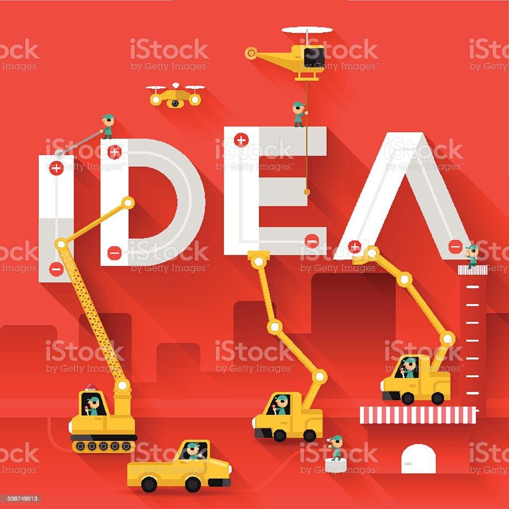 Idea text illustration in construction vector art illustration