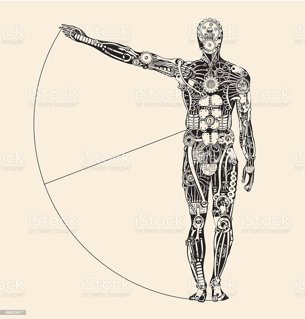 Ideal human proportion that governs the universe. Making of Humans. vector art illustration