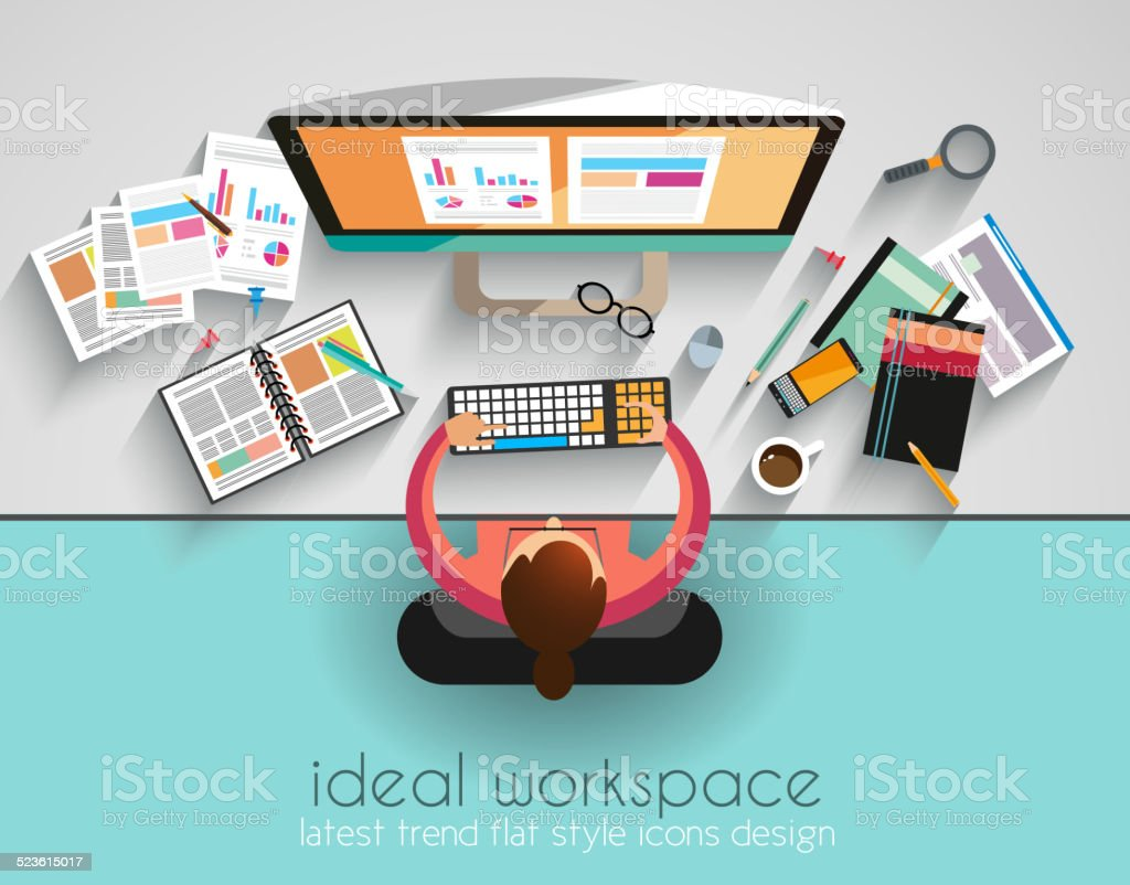 Ideal Workspace for teamwork and brainsotrming with Flat style. vector art illustration