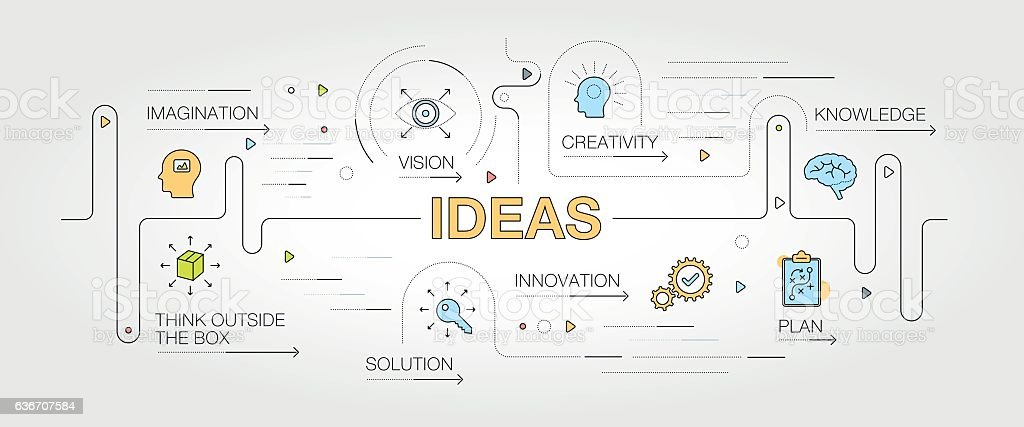 Ideas banner and icons vector art illustration
