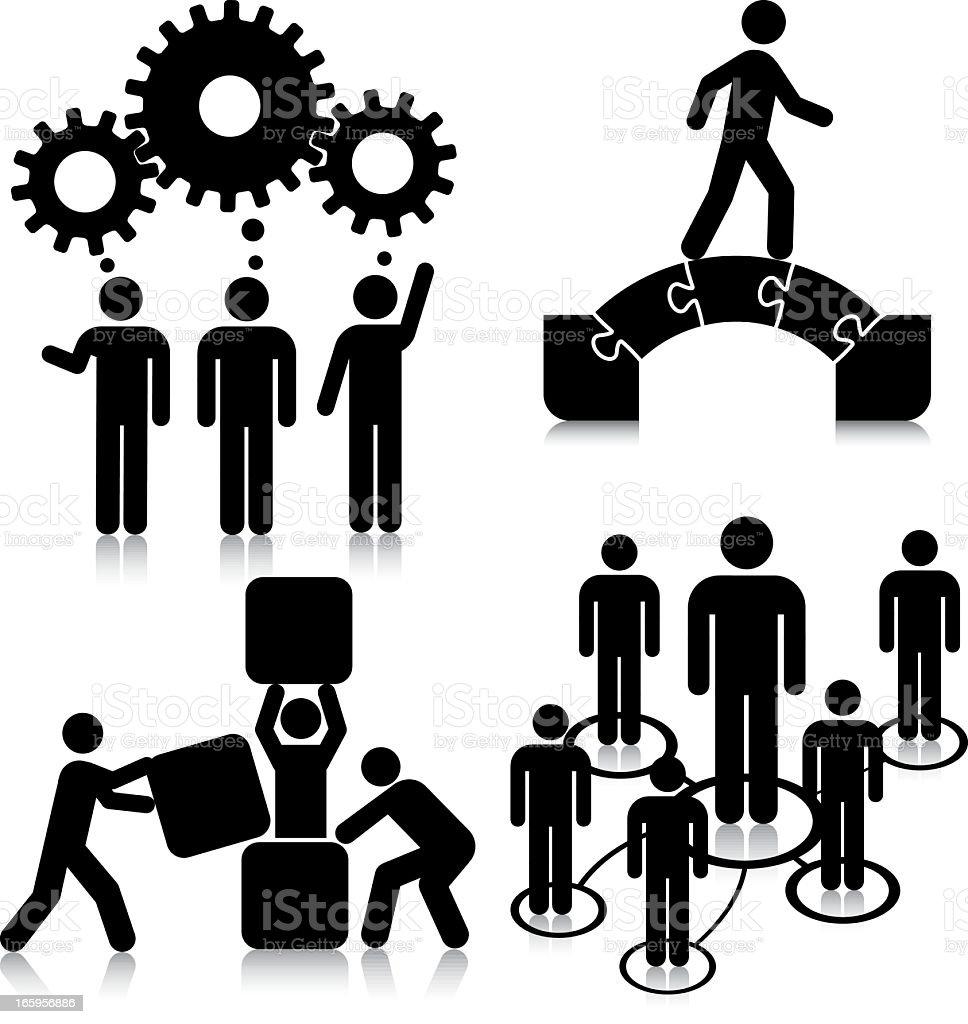 Ideas, Challenges, Network, Growth. vector art illustration
