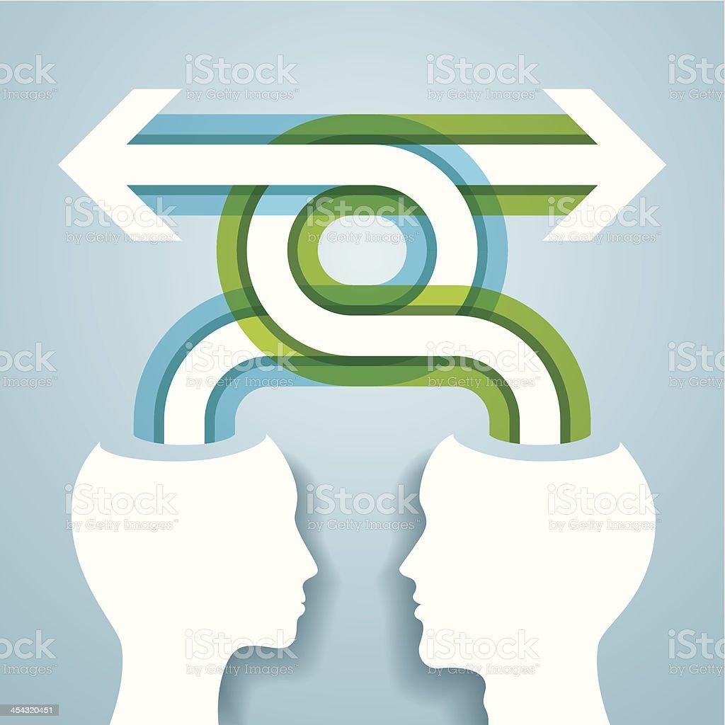 Ideas exchange vector art illustration