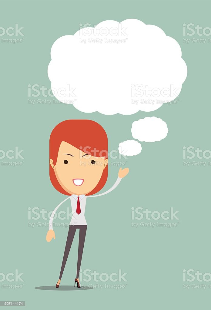 Ideas Sharing. Woman with ideas. space for text vector art illustration