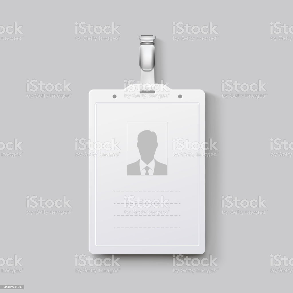 Identification badge with clasp. Vector illustration vector art illustration