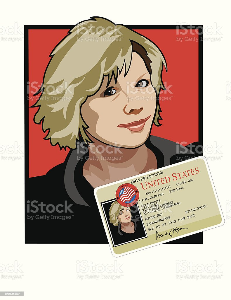 Identification card and cartoon drawing royalty-free stock vector art