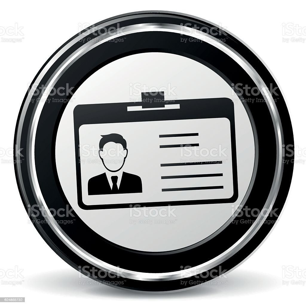 identification card black and gray icon vector art illustration