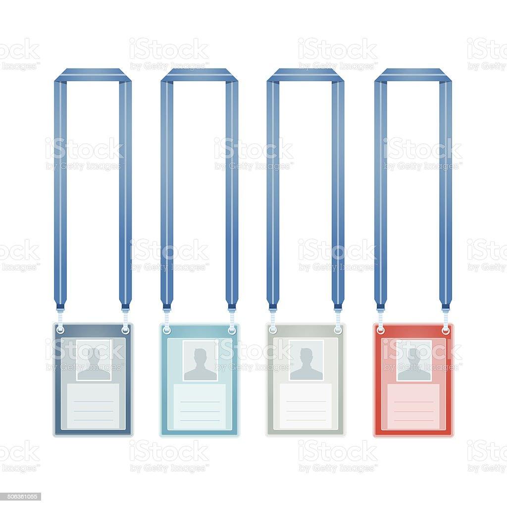 Identification Cards. 4 color Staff Sport set vector art illustration