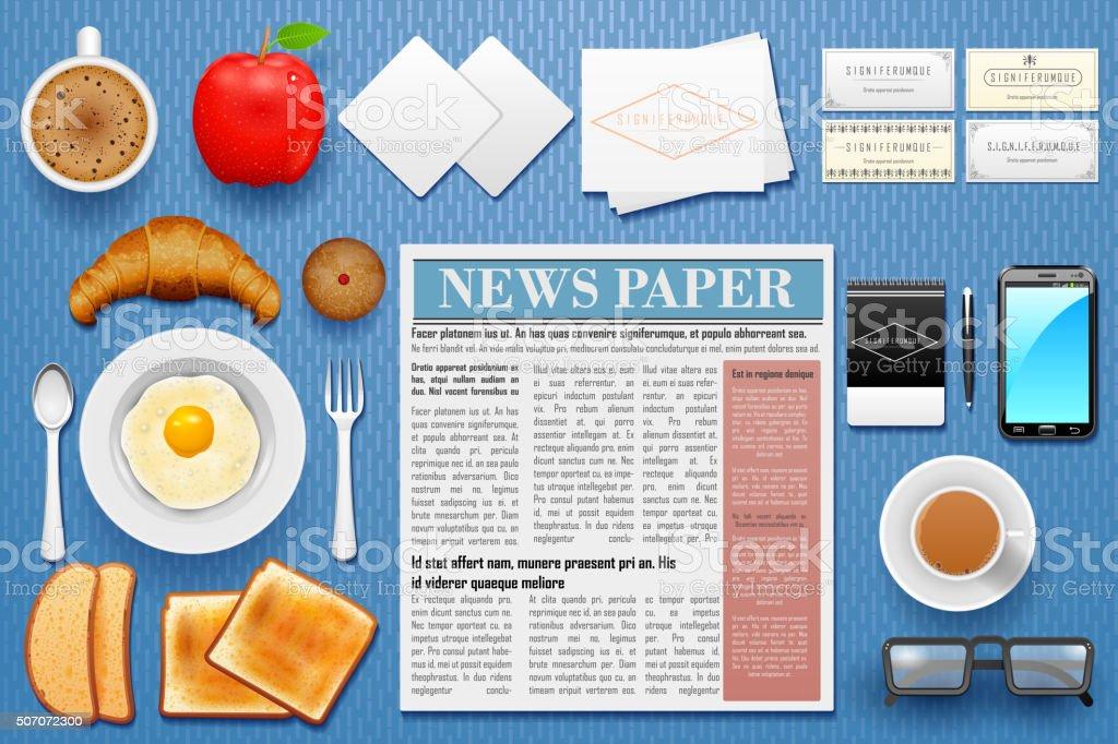 Identity branding mockup for breakfast vector art illustration