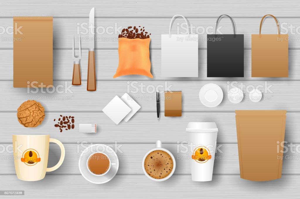 Identity branding mockup for coffee vector art illustration