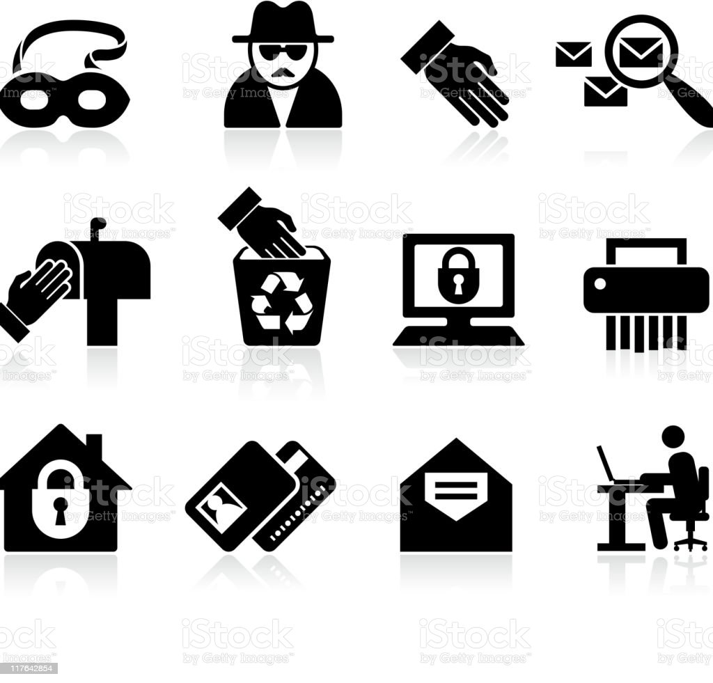 identity fraud black and white royalty free vector icon set vector art illustration