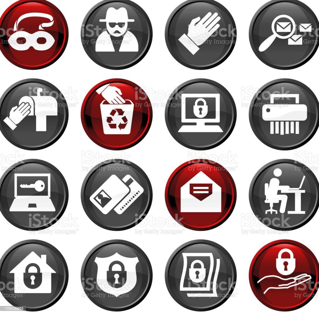 identity fraud sixteen icon set vector art illustration