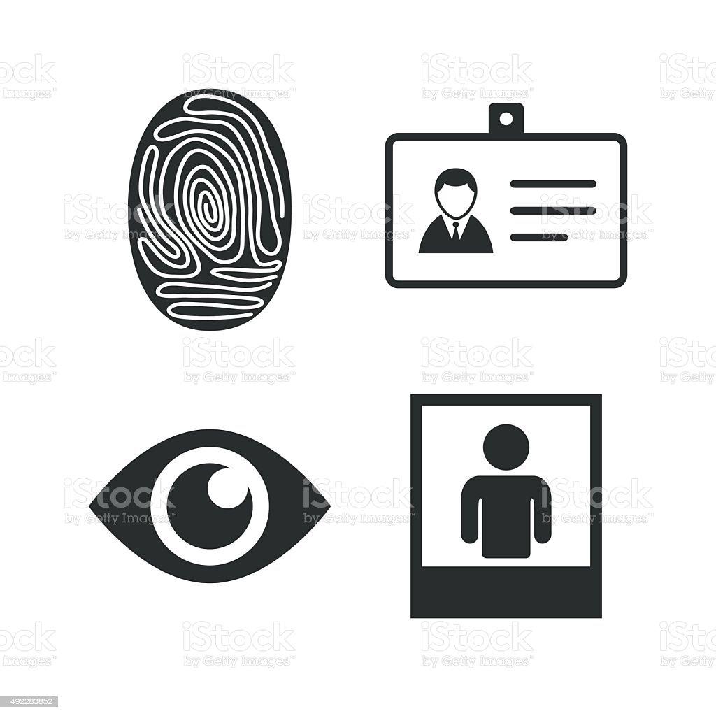 Identity ID card badge icons. Eye symbol vector art illustration