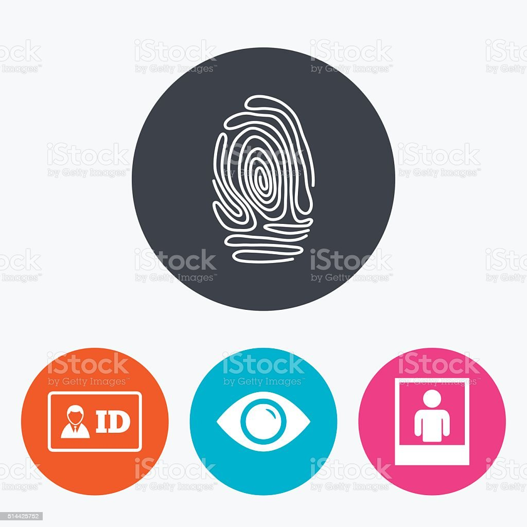 Identity ID card badge icons. Eye symbol. vector art illustration