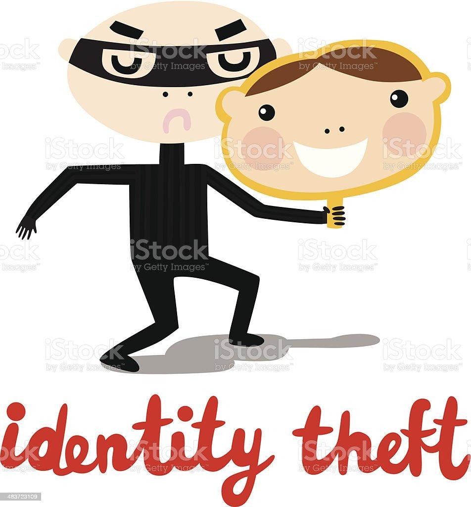 Identity Theft Criminal vector art illustration