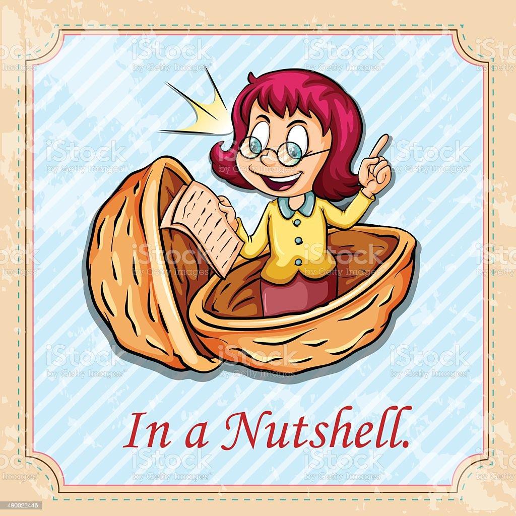 Idiom  nutshell vector art illustration