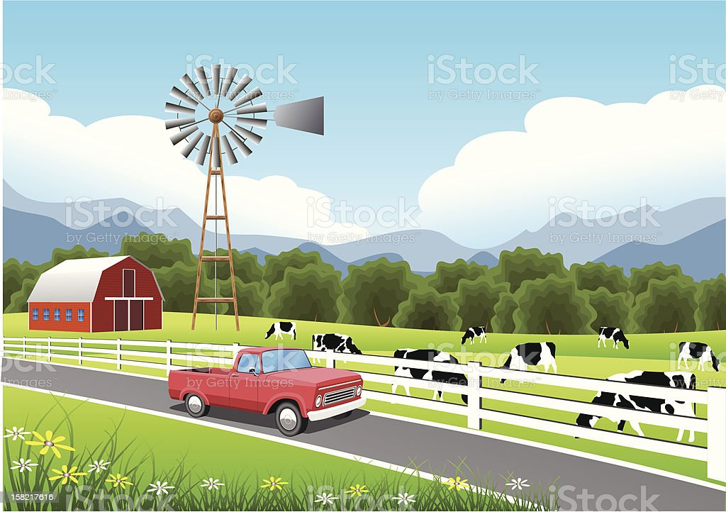 Idyllic Farm Scene with Truck in the Foreground. vector art illustration