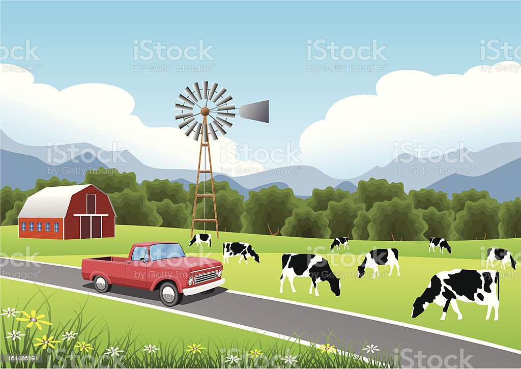 Idyllic Farm Scene with Truck in the Foreground. royalty-free stock vector art